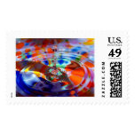 Colored drop in water with colored spots postage stamps
