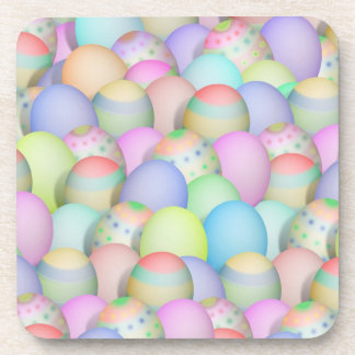 Colored Easter Eggs Background Beverage Coasters
