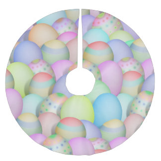 Colored Easter Eggs Background Brushed Polyester Tree Skirt