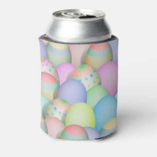 Colored Easter Eggs Background Can Cooler