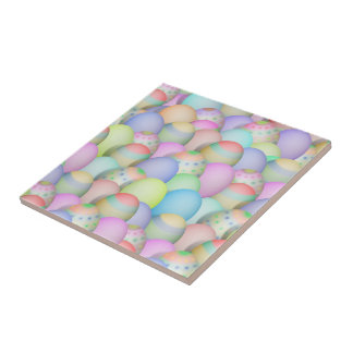 Colored Easter Eggs Background Ceramic Tile