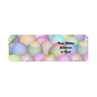Colored Easter Eggs Background Label