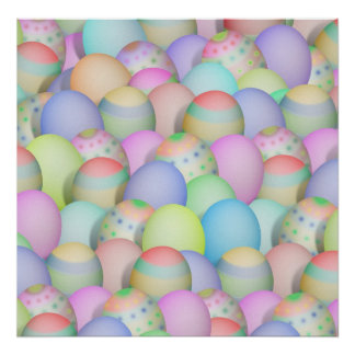 Colored Easter Eggs Background Poster