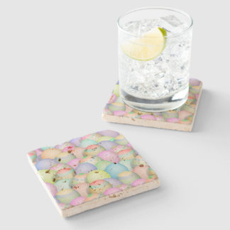 Colored Easter Eggs Background Stone Coaster