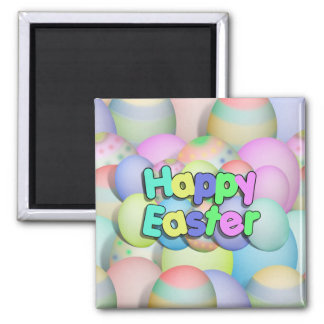 Colored Easter Eggs - Happy Easter 2 Inch Square Magnet