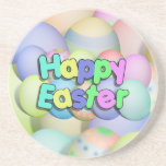 Colored Easter Eggs - Happy Easter Coaster