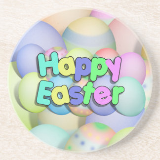 Colored Easter Eggs - Happy Easter Coasters