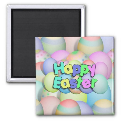 Colored Easter Eggs - Happy Easter Fridge Magnets