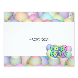 Colored Easter Eggs - Happy Easter 4.25x5.5 Paper Invitation Card