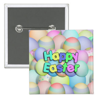Colored Easter Eggs - Happy Easter Pinback Button