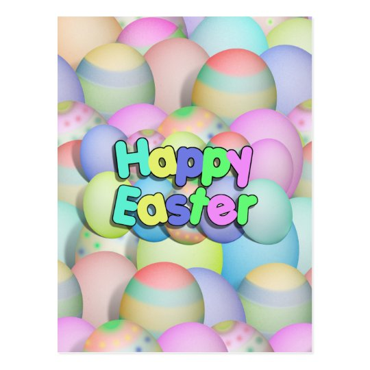 Colored Easter Eggs - Happy Easter Postcard