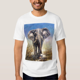 Colored Elephant running through plain T-Shirt