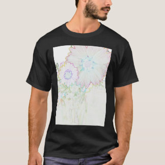Colored etched flowers photo tee