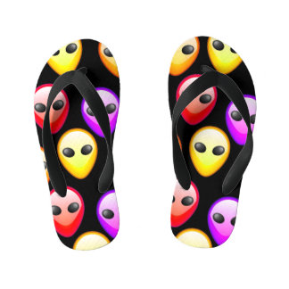 Colored Extraterestrial Kid's Flip Flops
