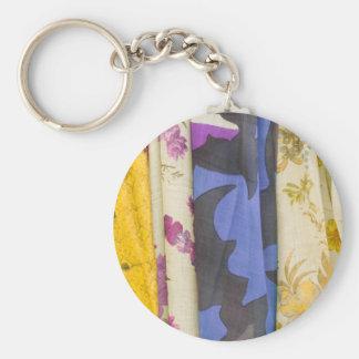 colored fabrics basic round button keychain