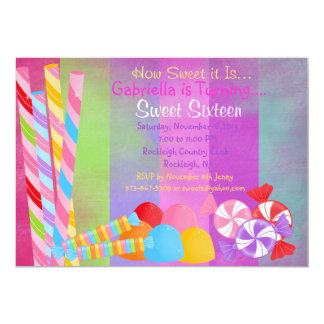 Colored Faded Lots of Candy Sweet 16 Invitation