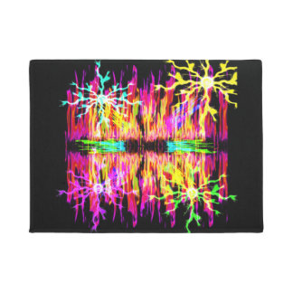 Colored Fire and Sparks Door Mat