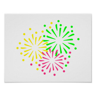 Colored Fireworks Poster