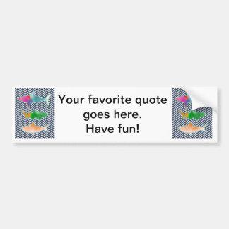 Colored Fishes on zigzag chevron - Blue and White Bumper Sticker
