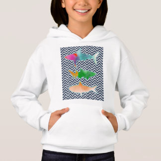 Colored Fishes on zigzag chevron - Blue and White Hoodie