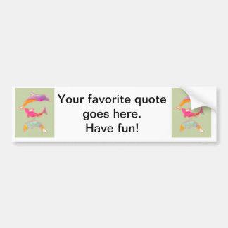 Colored Fishes on zigzag chevron - Green Bumper Sticker
