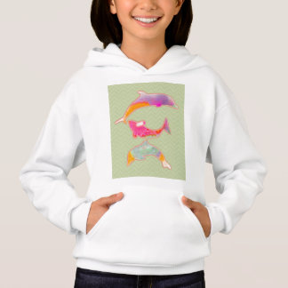 Colored Fishes on zigzag chevron - Green Hoodie