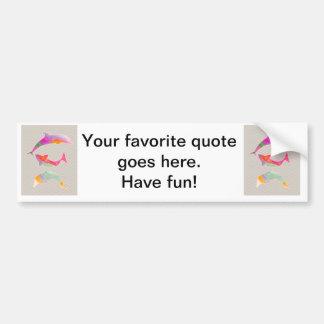 Colored Fishes on zigzag chevron - Light pink Bumper Sticker
