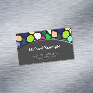 Colored Flat Stone Mosaic I + your ideas Magnetic Business Card