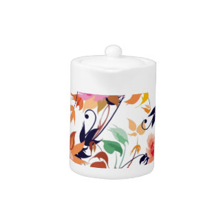 colored floral standard teapot