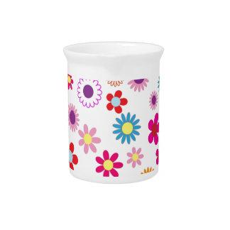 Colored Florals Beverage Pitcher