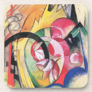 Colored Flowers (Abstract Forms) by Franz Marc Drink Coaster