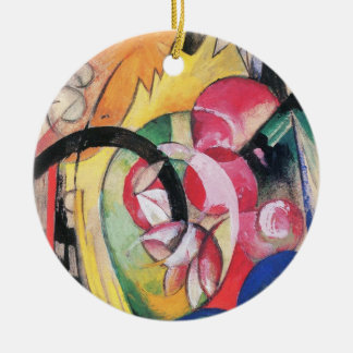 Colored Flowers (aka Abstract Forms) by Franz Marc Ceramic Ornament