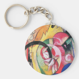 Colored Flowers (aka Abstract Forms) by Franz Marc Keychain