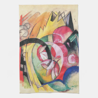 Colored Flowers (aka Abstract Forms) by Franz Marc Kitchen Towel