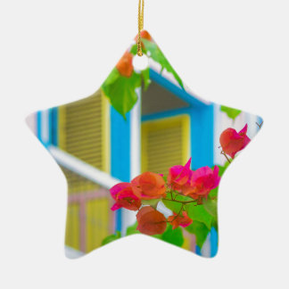Colored Flowers in Front ot Windows House Ceramic Ornament