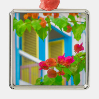 Colored Flowers in Front ot Windows House Metal Ornament