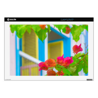 Colored Flowers in Front ot Windows House Skin For Laptop