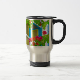 Colored Flowers in Front ot Windows House Travel Mug