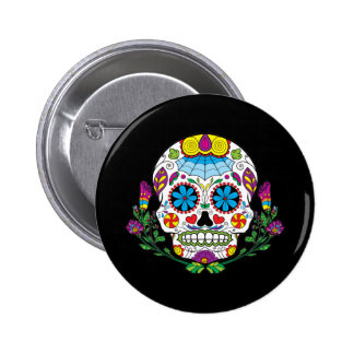 Colored Flowers Mexican Tattoo Sugar Skull 2 Inch Round Button