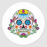 Colored Flowers Mexican Tattoo Sugar Skull Classic Round Sticker at Zazzle