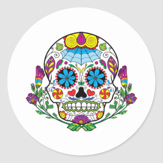 Colored Flowers Mexican Tattoo Sugar Skull Classic Round Sticker