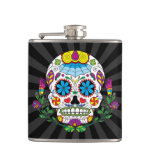 Colored Flowers Mexican Tattoo Sugar Skull Hip Flask at Zazzle
