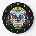 Colored Flowers Mexican Tattoo Sugar Skull Large Clock at Zazzle