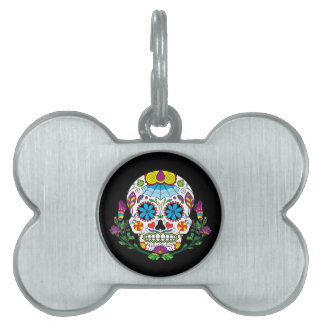 Colored Flowers Mexican Tattoo Sugar Skull Pet ID Tag