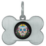 Colored Flowers Mexican Tattoo Sugar Skull Pet Tag