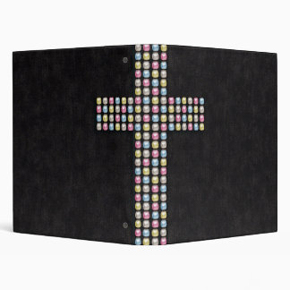 Colored Gem Cross Binder