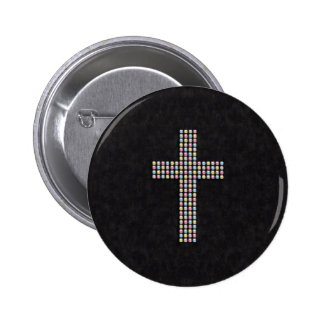 Colored Gem Cross 2 Inch Round Button