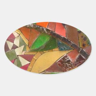 colored glass art vo1 oval sticker
