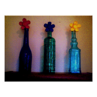 Colored Glass Bottles with Daisies Poster