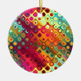 Colored Glass Circles Ceramic Ornament